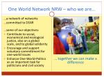 one world network nrw who we are