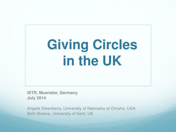 giving circles in the uk n.