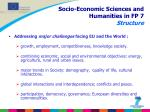 socio economic sciences and humanities in fp 7 structure