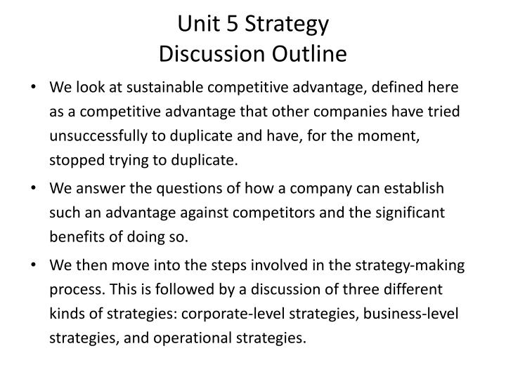 unit 5 strategy discussion outline n.