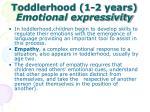toddlerhood 1 2 years emotional expressivity