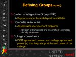 defining groups cont