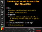 summary of novell products we can almost use