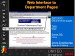 web interface to department pages