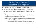 the big picture example 13 dependency exemptions