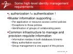 some high level identity management requirements