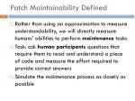 patch maintainability defined