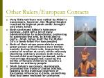 other rulers european contacts