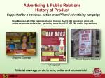 advertising public relations history of product