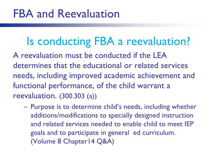 FBA and Reevaluation
