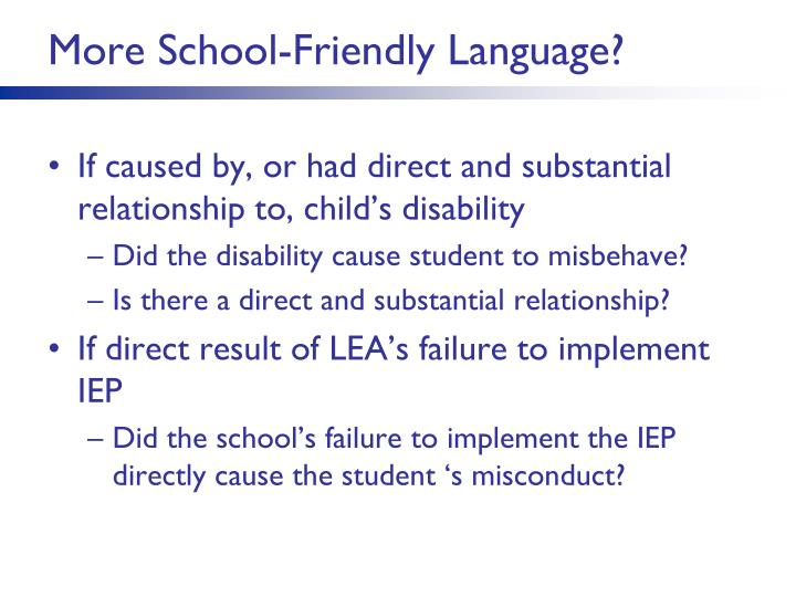 More School-Friendly Language?