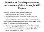 selection of data representation the relevance of these issues for gis projects