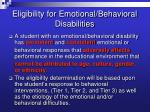 eligibility for emotional behavioral disabilities