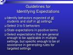 guidelines for identifying expectations