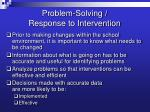 problem solving response to intervention