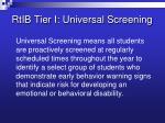 rtib tier i universal screening