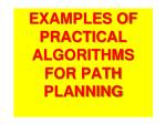 examples of practical algorithms for path planning