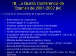 18 la quinta conferencia de examen de 2001 2002 iv
