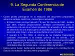 9 la segunda conferencia de examen de 1986