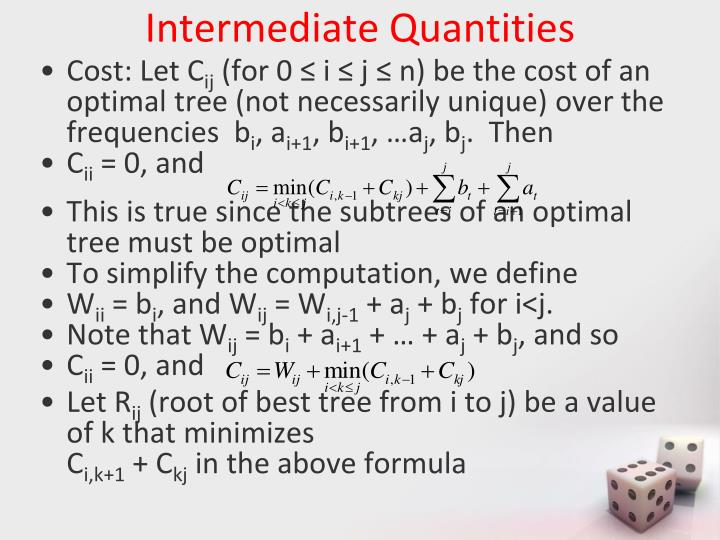 Intermediate Quantities