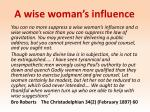 a wise woman s influence