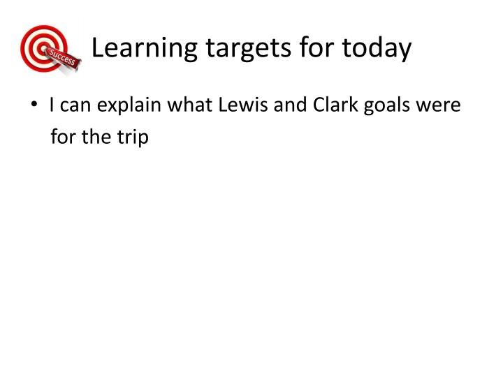 learning targets for today n.