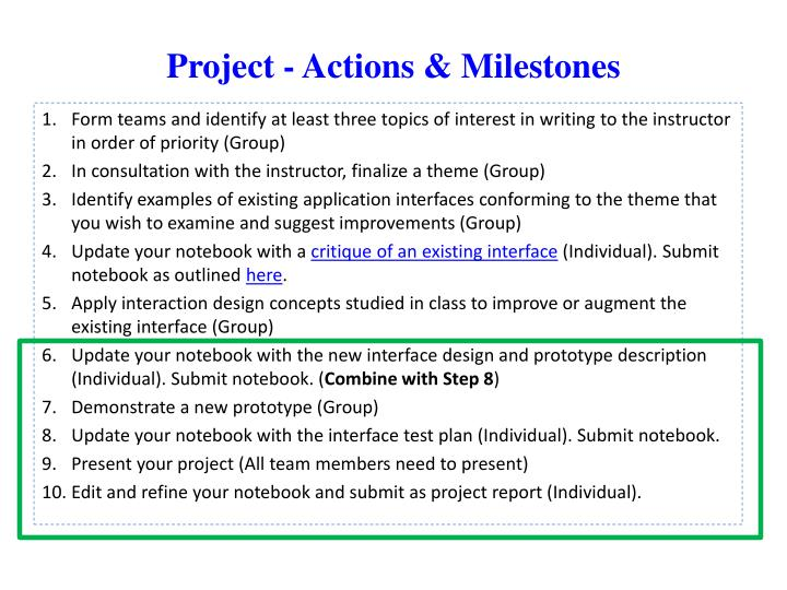 project actions milestones n.