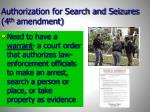 authorization for search and seizures 4 th amendment
