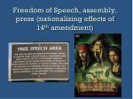 freedom of speech assembly press nationalizing effects of 14 th amendment