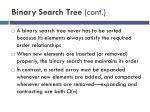 binary search tree cont