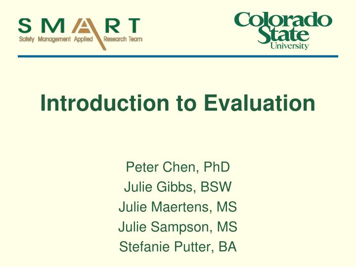 introduction to evaluation n.