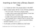 inserting an item into a binary search tree