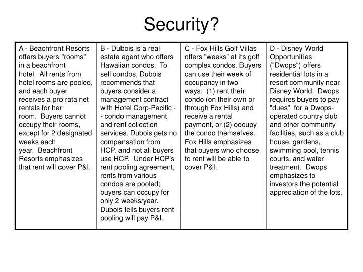 Security?