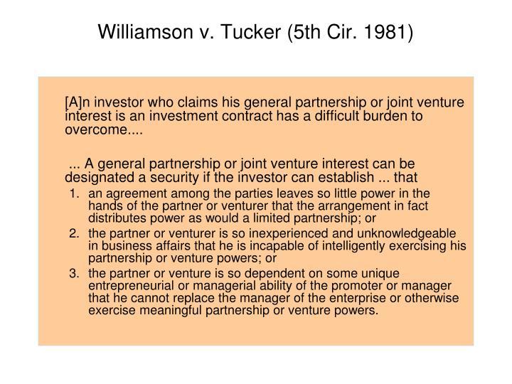 Williamson v. Tucker (5th Cir. 1981)