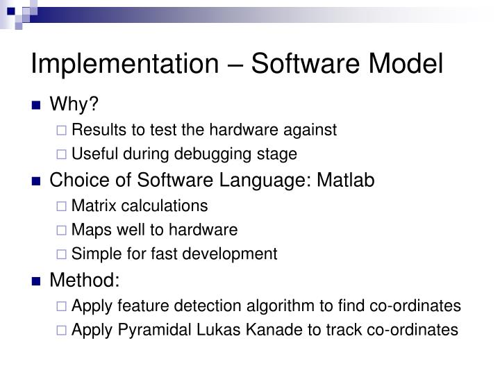 Implementation – Software Model