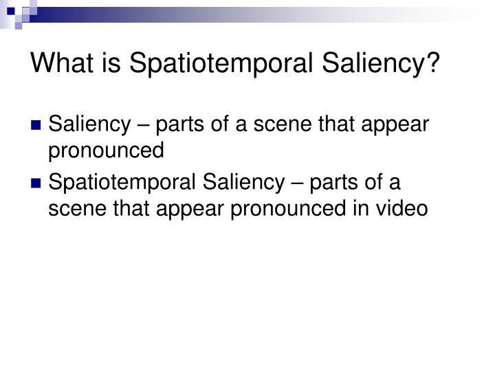 What is Spatiotemporal Saliency?