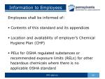 information to employees
