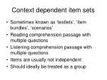 context dependent item sets