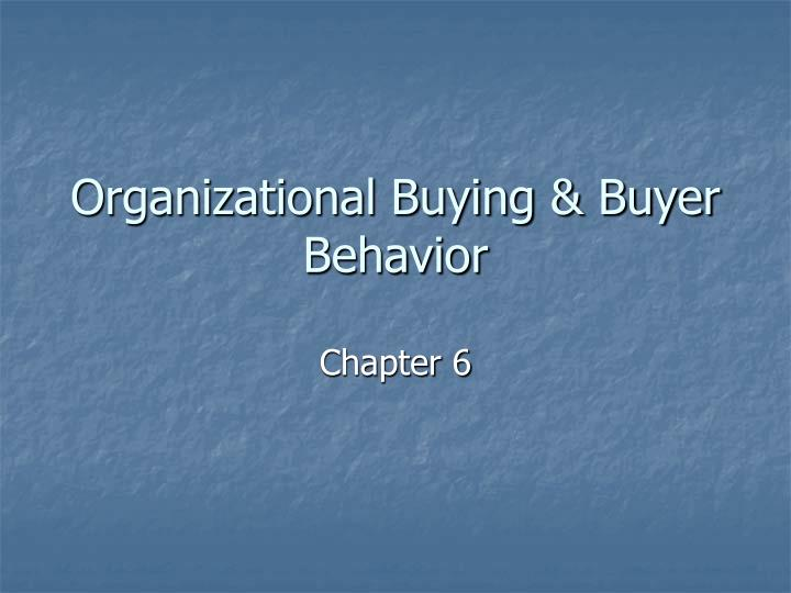 organizational buying buyer behavior n.