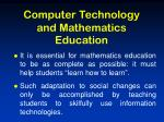 computer technology and mathematics education