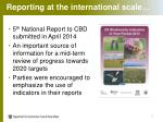 reporting at the international scale