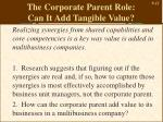 the corporate parent role can it add tangible value