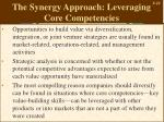 the synergy approach leveraging core competencies