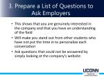 3 prepare a list of questions to ask e mployers