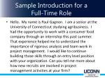 sample introduction for a full time role