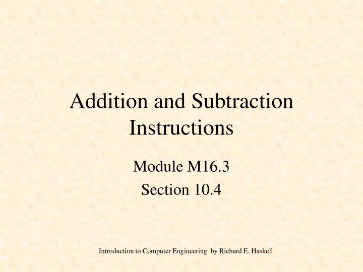 addition and subtraction instructions n.