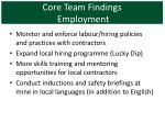 core team findings employment