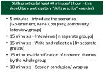 skills practice at least 60 minutes 1 hour this should be a participatory skills practice exercise