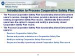 introduction to process cooperative safety plan