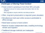 challenges of storing fixed content